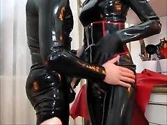 latex mistress handjob cum rubber dick up shorts cock