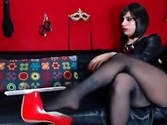 Beautiful girl shoeplay and shows her perfect nylon feet