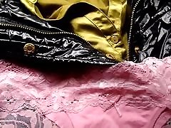 Cum on pink panties on satin blouse and shiny chainn xxx jacket
