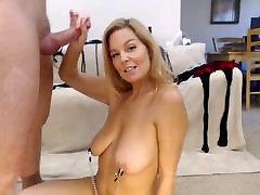 MILF nipple clamps sucking big hard cock