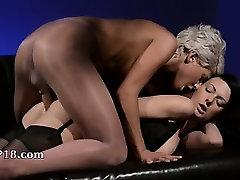 Horny brunet sucking penis of rubber