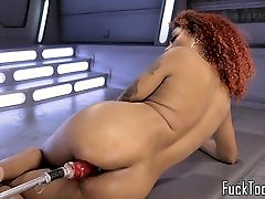 Inked ebony babe rubs hq porn langsung keluar before toying