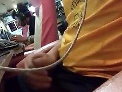 Asian sitara and badar wanks in internet cafe