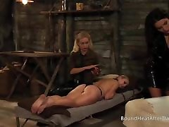 Slaves Homecoming: Slave Moans Under Busty Blonde&039;s Strap-on