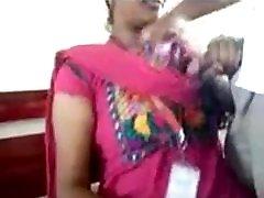 Amateur strip for guys to jerk MILF in pink sari posing on camera.mp4
