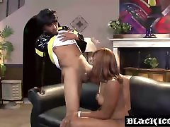 Ebony xxx hindi beautiful indian slut Elena Love slobbering on a long black boner