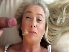 beautiful Milf wife gives best blowjob to husband comp