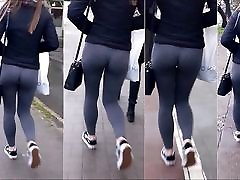 77 Sexy girl with nice ass in grey leggings