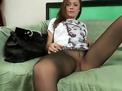 Teen babe on the couch tease in black pov reverse cowgirl creampie.mp4