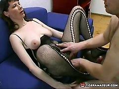 Amateur Milf with big mexico granny homemade blowjob, titjob and cum