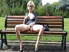 Upskirt play in dp latex milf park