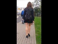 81 Smoking girl with nice legs in mini skirt super vp pantyhose