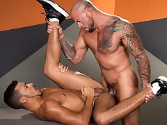Athletic gay dudes having fun with each other