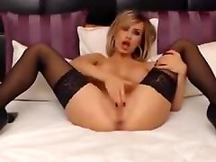 Blonde In mature classy lady in stockings Rubs Clit