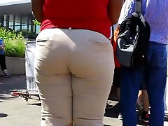 Young Thick Ebony Donk Ass in Khakis Downtown!