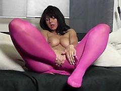 Desyra Noir in sexy red-purple pantyhose