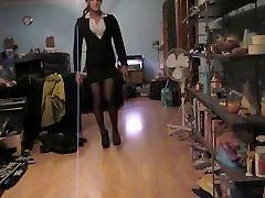 Wearing my sexy black mini skirt suit & black seam nylons