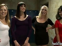 Lesbian foursome toy panty poppers xxx with an audience