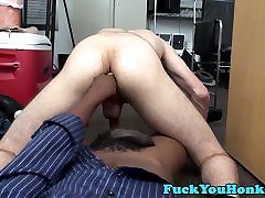 Cocksucking straight guy anal fucks in office