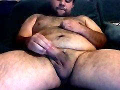 Chubby hairy bear jerking off