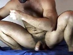 Muscle bear rides dildo & cums