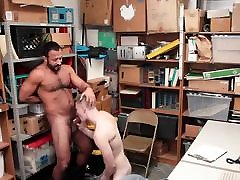 Tall blonde straight boy barebacked by older horny security