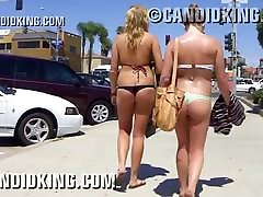 Pawg teens walking in thong bikinis in public!