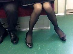 Skinny Japanese OL in Black Pantyhose
