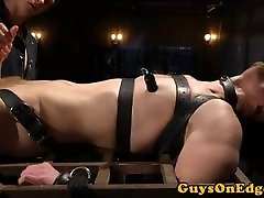 Edging college son sub tied up for cocksucking