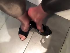 Pissing in neighbor&039;s leggings and shiny pantyhose