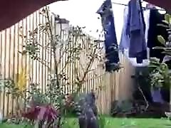 Mature British amateur peeing pissing naked outdoors bbw