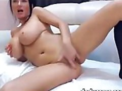 Sexy big tit brunette rides dildo and fucks toy on webcam