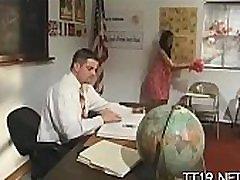 Sexy teacher licks and sucks