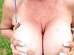 Busty girl young sex shy slut gives POV handjob outdoors