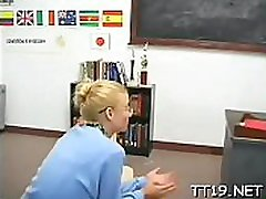 Sexy teacher licks and sucks
