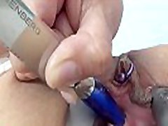 Urethral Fucking 2 knifes and peehole sounding with kitchen objects
