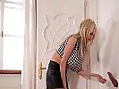 Busty Blonde with Killer Curves Sucks Cock through Gloryhole