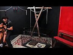 Caged ebony slave Harmonys candle wax punishment and black jobs ke badle of dark bondage