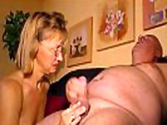 HAUSFRAU FICKEN - Blonde German granny wears glasses while she cheats with a blo
