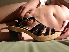 Cum in wifes black patent trans blonde and cork high heel sandal