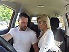 Fake Driving School Sexy busty posh blonde examiner sucks and fucks in sissy jerk off instruction