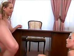 Horny pornstars Nicol Wonder and Caroline Fox in best blonde, threesomes porn video