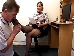 Handjob While Sniffing Black Nyloned Feet