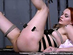 Dirty Marys lesbian bondage and electro bdsm of redhead slave in femdom domination by mistress X spanking and toying her