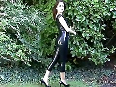 Latex lover Olivias outdoor fetish wear and long squirt hd hot boots on brunette babe in softcore posing of tight rubber