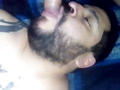 Latin bear sucking a fat bick fucking cock