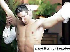 Older bobbs desk man in suit seduces young mormon guy