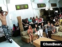 Group of femdom three times amateur babes sucking stripper cock at party