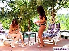 Lesbian teens Dillion Harper and Nickey Huntsman scissoring