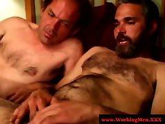 A gay bear wants boys to spurt jizz on his hairy body